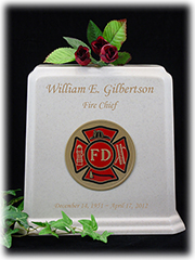 White Granite Fireman Urn with Gold Lettering