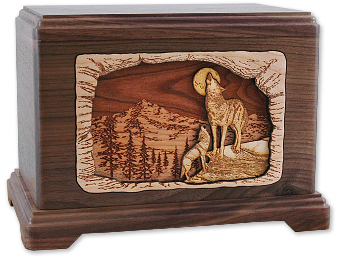 Human urns d inlay dimensional wood cremation