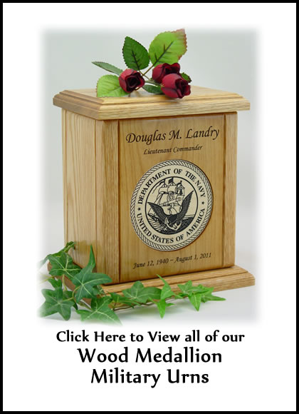 Wood Medallion Military Urns