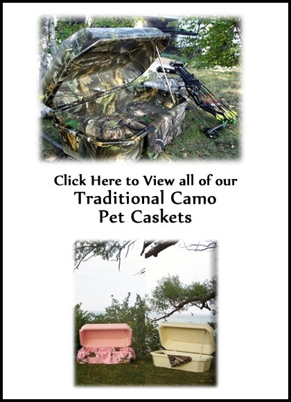 Traditional Camo Pet Caskets - Dog Caskets - Cat Caskets