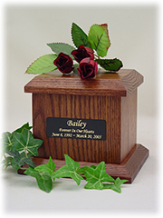 Economy Pet Urn - Small - Chestnut W/Plate